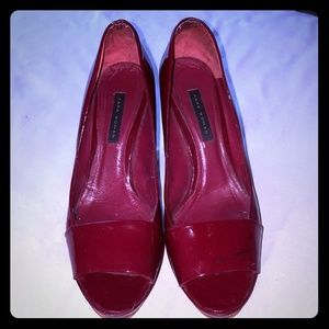 Zara Red Patent Peep Toe Sz 39